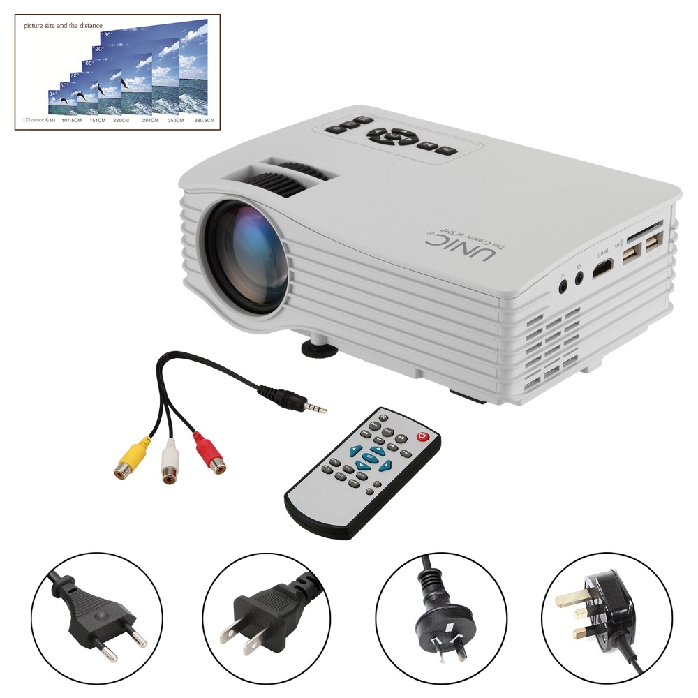 1 pcs unic uc36 full hd 1080 p ua/eu/uk/us plug Mini Home Cinéma Multimédia LED Projecteur USB-Blanc choisir