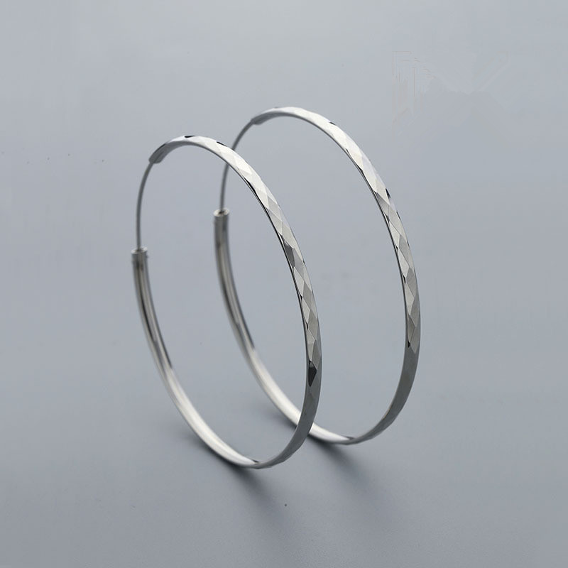 Silver 925 Jewelry 2018 New Fashion Unice Simple Big Round Circle Geometric Hoop Earrings For Women Lady Gift oorbellen L027