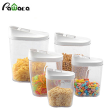 5 pcs Food Storage Bottles  Dry Food Storage Containers Assorted Sizes & Slide-Back Lids Cereals Jars Bottle Tea Box