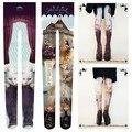 Princess sweet lolita pantyhose Japan zipper harajuku  punk cat amo ramper apank street snap velvet printing pantyhose