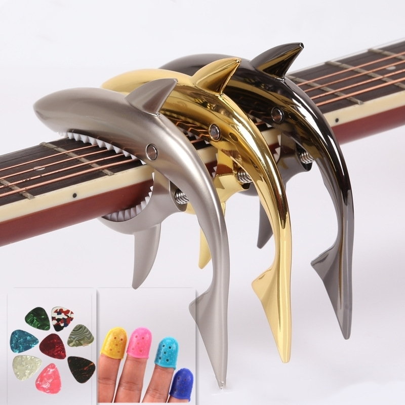 Guitar Accessories Sharks Folk Guitar Capo Acoustic Wooden Guitar Capo Sound Clip with 10 picks and 4  Fingerstalls amumu traditional weaving patterns cotton guitar strap for classical acoustic folk guitar guitar belt s113