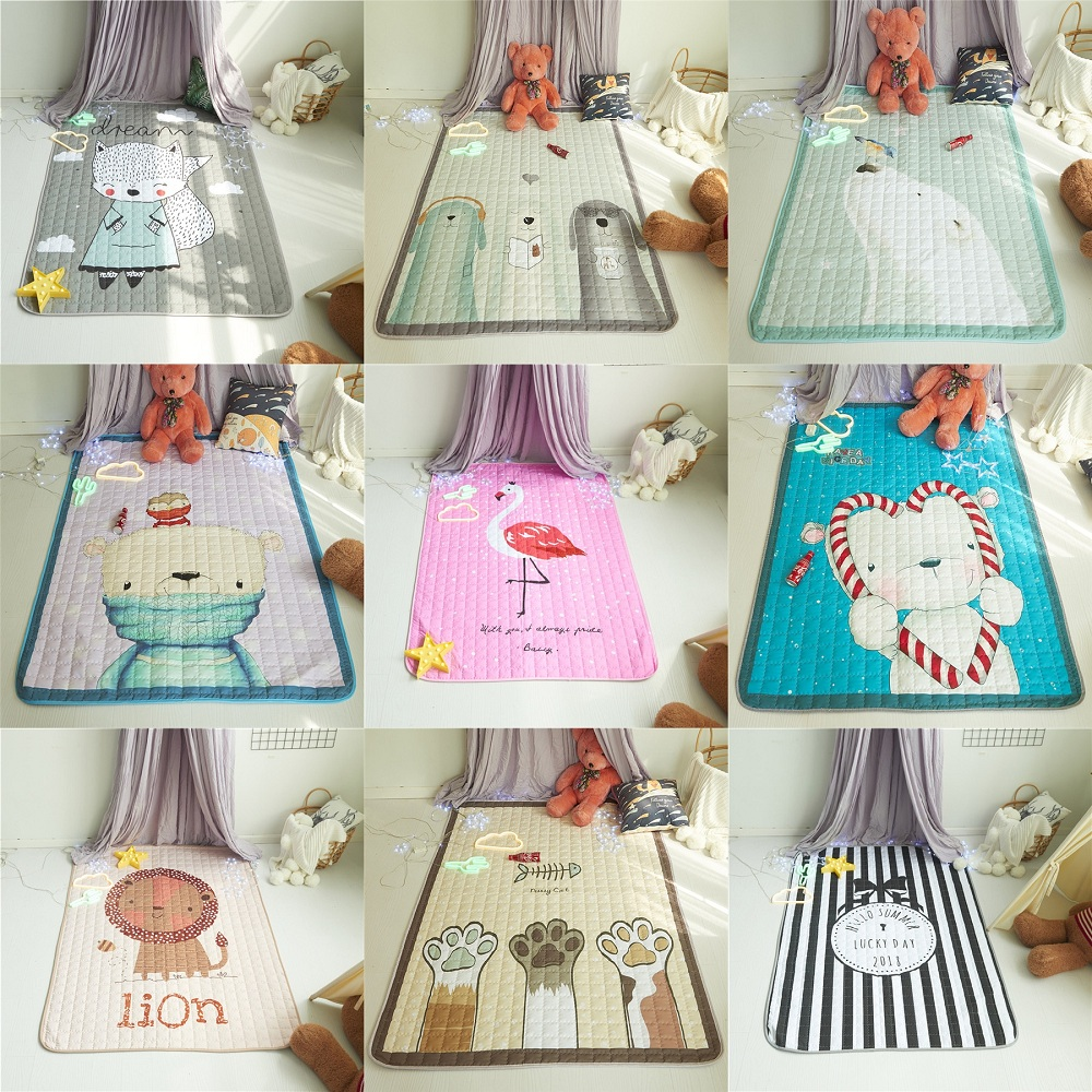 Cute Animals Pattern Water-proof Baby Play Mats Multi-function Blanket Picnic Mat Nordic Style Kids Room Home Decor Photo Props цена 2017