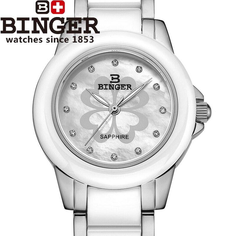 866b92d6082b Suiza Binger de las mujeres de cerámica relojes de moda de lujo reloj de cuarzo  ronda relojes B-1120L-3