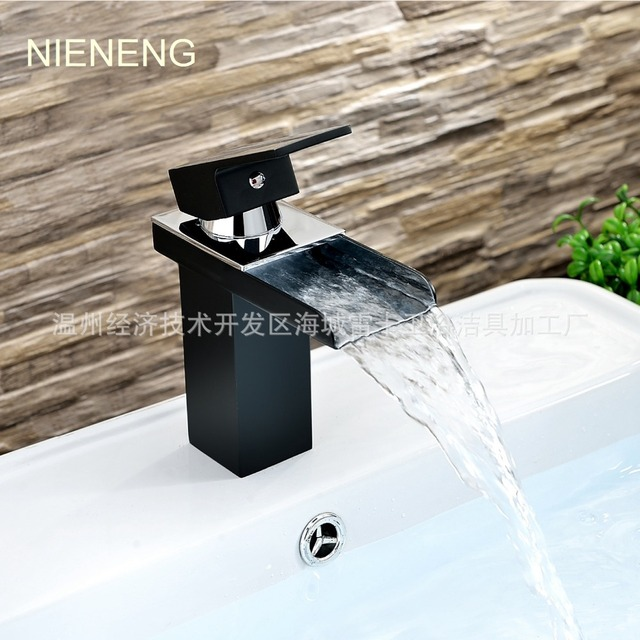 NIENENG bathroom faucet single handle black paint tap waterfall ...