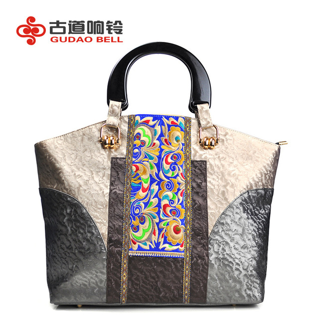 Women Pu Flower Messenger Handbags National Designer Bag S Embroidery Square Package Fashion