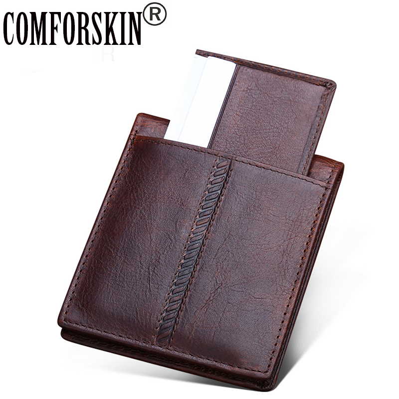 COMDOESKIN Premium Vintage Crazy Horse Genuine Leather Short Business Men Wallets Bi fold Men Purses with Detachable Card Slots in Wallets from Luggage Bags