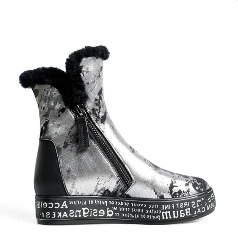 FEDONAS Top qualité mode femmes peau de mouton laine hiver chaud en cuir véritable bottes de neige chaussures femme plate forme fourrure bottines - 3