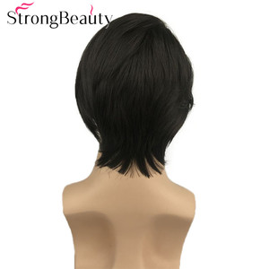 Image 4 - StrongBeauty Synthetic Lace Front Wig Men Hair Short Straight Wigs Natural Black Hair