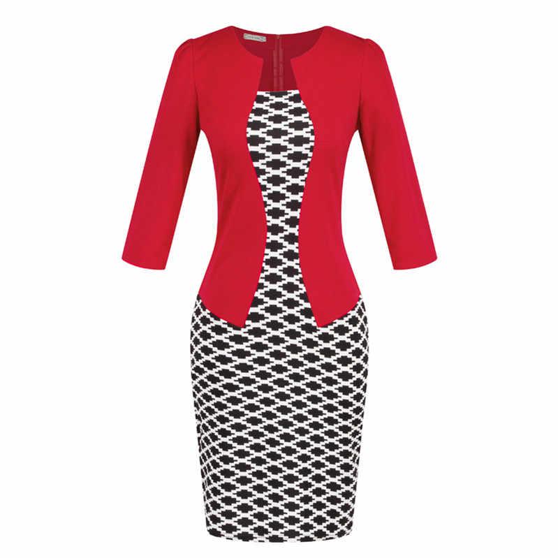 Цельнокроеное платье из искусственной кожи, короткое элегантное платье для работы с узорами, офисное облегающее женское платье с рукавом 3/4, с поясом, большие размеры s-xxxl