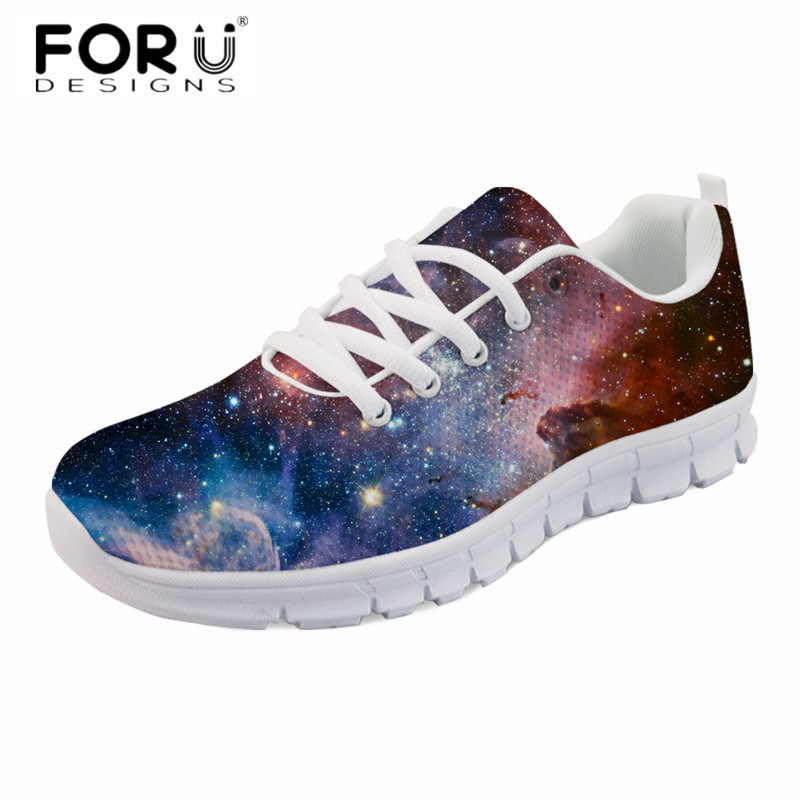 FORUDESIGNS Casual Women Galaxy Design Flats Shoes Fashion Ladies Breathable Comfortable Zapatos Mujer Girl Spring Walk Sneakers forudesigns 3d flowers pattern women casual sneakers comfortable mesh flats shoes for female girls lace up shoes zapatos mujer