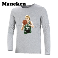 Men Autumn Winter Larry Bird 33 Boston T Shirt Long Sleeve Tees T SHIRT Men S