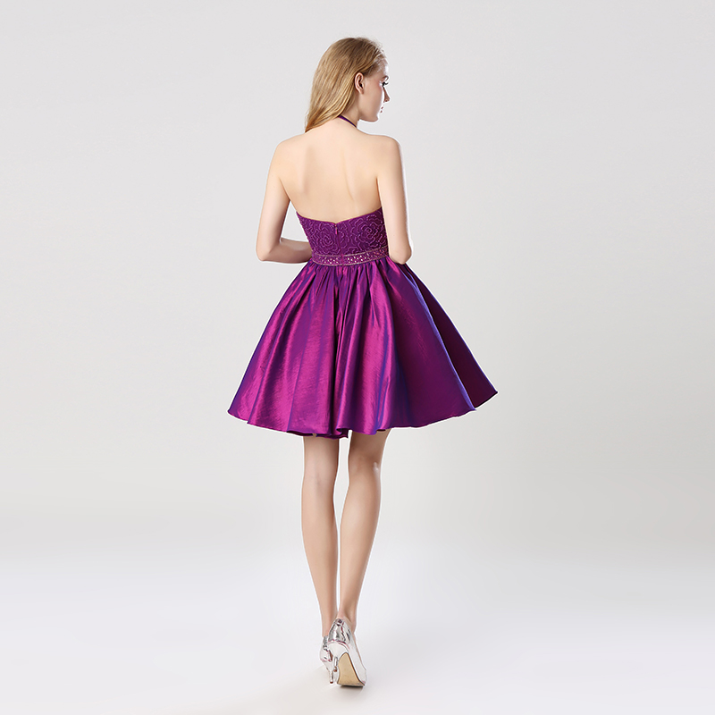 Short A-Line Grape Homecoming Dresses with Halter Sleeveless Taffeta Beading Graduation Party Gowns Formal Cocktail Dress OS401