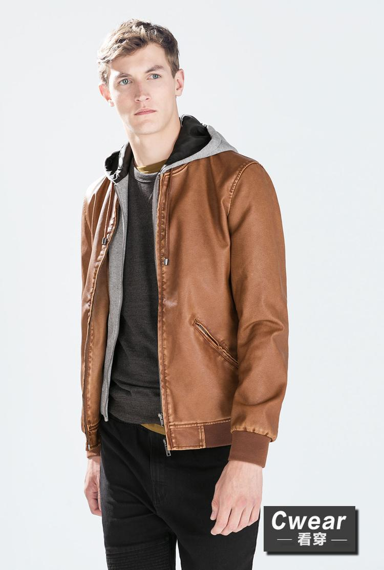 Mens jacket camel - Za 2014 Fashion Winter Men New Coats Camel Brown Grey 3 Colors Hoodie Leather Jacket Mens Casual Outerwear School Clothings
