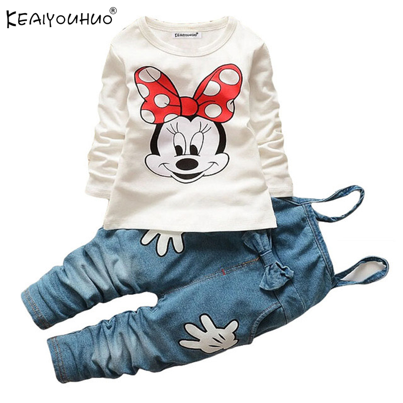 Autumn Baby Boy Girl Clothes Sets Long Sleeve Cartoon Cotton Infant Clothing T-Shirt+Jeans 2pcs Newborn Clothes Boys Sport Suit cotton baby rompers set newborn clothes baby clothing boys girls cartoon jumpsuits long sleeve overalls coveralls autumn winter