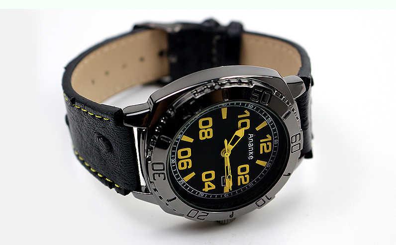 Ananke Waterdichte Militaire Kalender Horloges Mannelijke Zwart Lederen Quartz Horloges Sport 45 Mm Grote Aantallen Dial Relogio Masculino