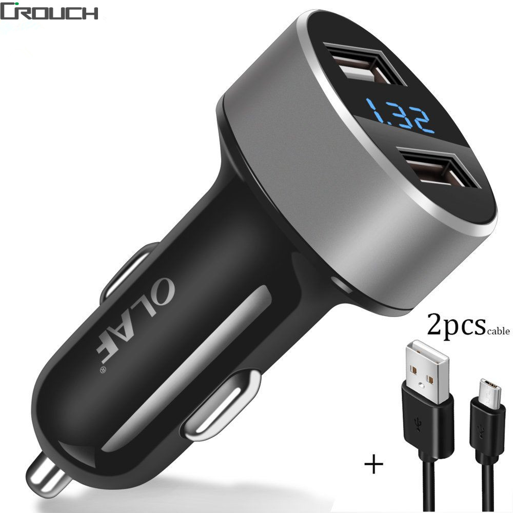 Olaf Car Charger 5V2.4A Quick Charge 3.0 Car-Charger with cable Fast Dual USB Port Mobile Phone Car Charger QC 2.0 Compatible