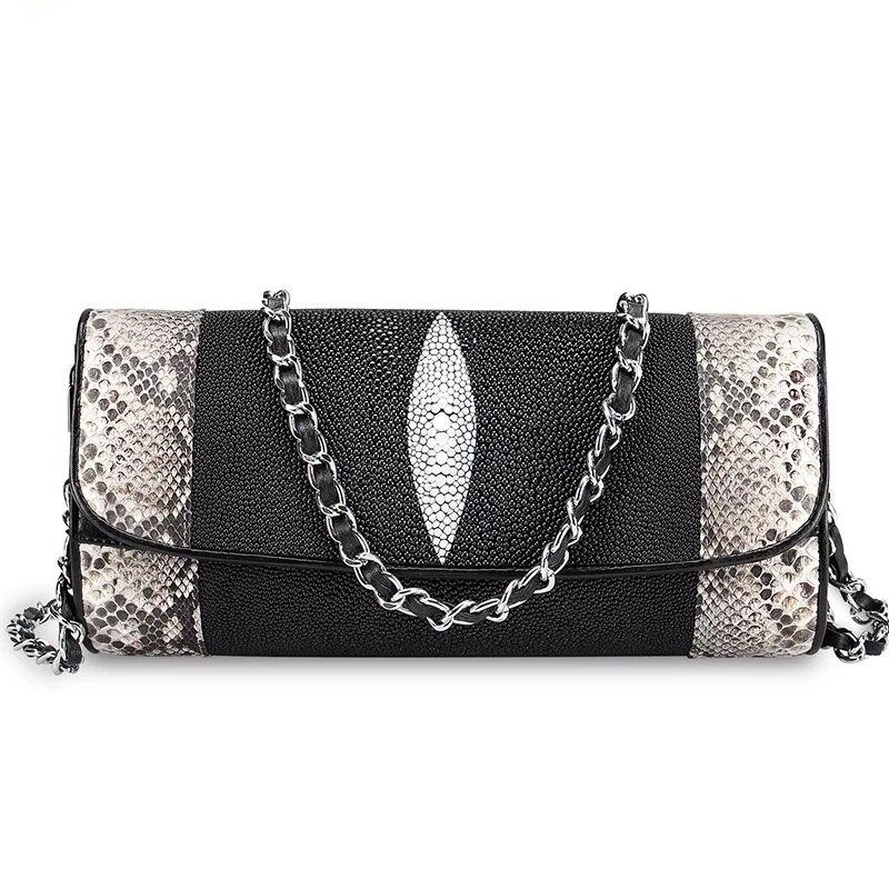 High end Genuine Python Leather Female Envelop Purse Two Chain Straps Women Single Shoulder Bag Stingray