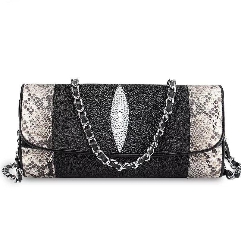 Wysokiej klasy oryginalna Python skóry kobiet koperta torebka dwa łańcuch pasy damska torba na jedno ramię skóra bydlęca Lady Crossbody torba w Torebki na ramię od Bagaże i torby na  Grupa 1
