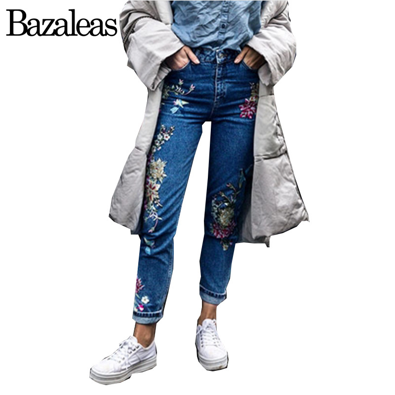 Bazaleas Spring autum Pockets Straight Denim Jeans Women Bottom Flower Birds Embroidery Jean Female Blue Casual Pants flower embroidery jeans female blue casual pants capris 2017 spring summer pockets straight jeans women bottom a46
