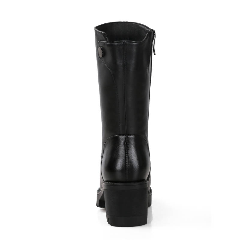 Image 3 - MORAZORA 2019 russia genuine leather natural wool boots round toe zip warm snow boots comfortable mid calf boots women shoes-in Mid-Calf Boots from Shoes