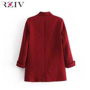Image 4 - RZIV Женский блейзер, пиджак, пальто, повседневный Одноцветный пиджак на одной пуговице, OL Блейзер, костюм