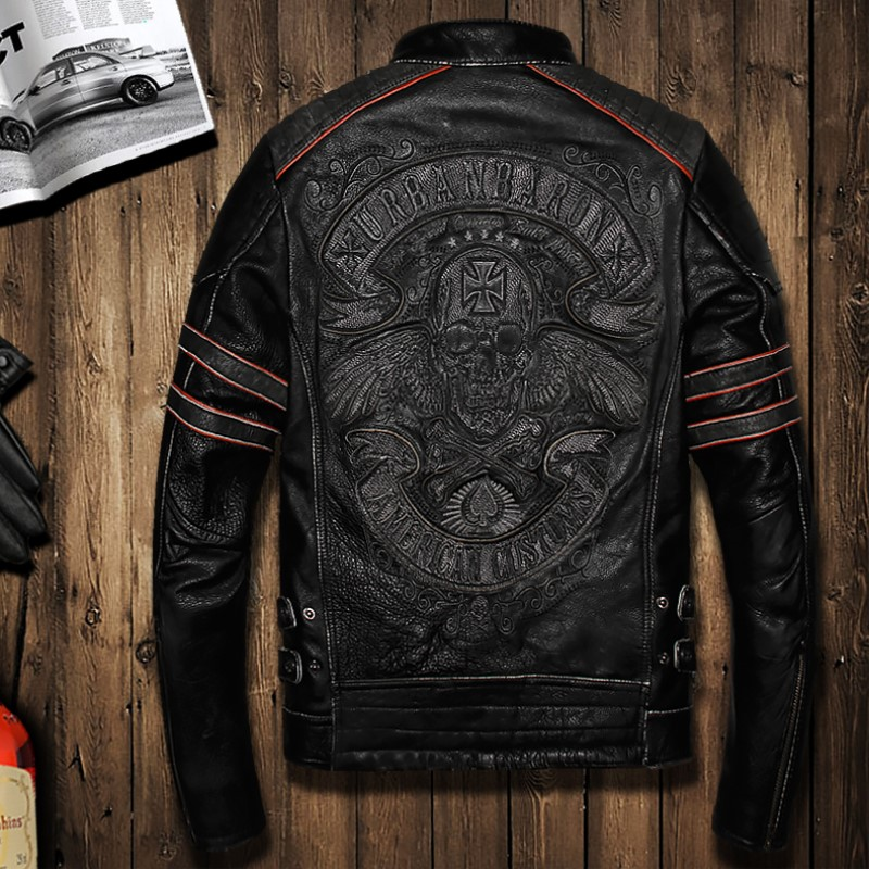 Male Genuine Leather Clothing First Layer Cowhide Leather Jacket Skull Embroidery Jacket Slim Stand Collar Jacket