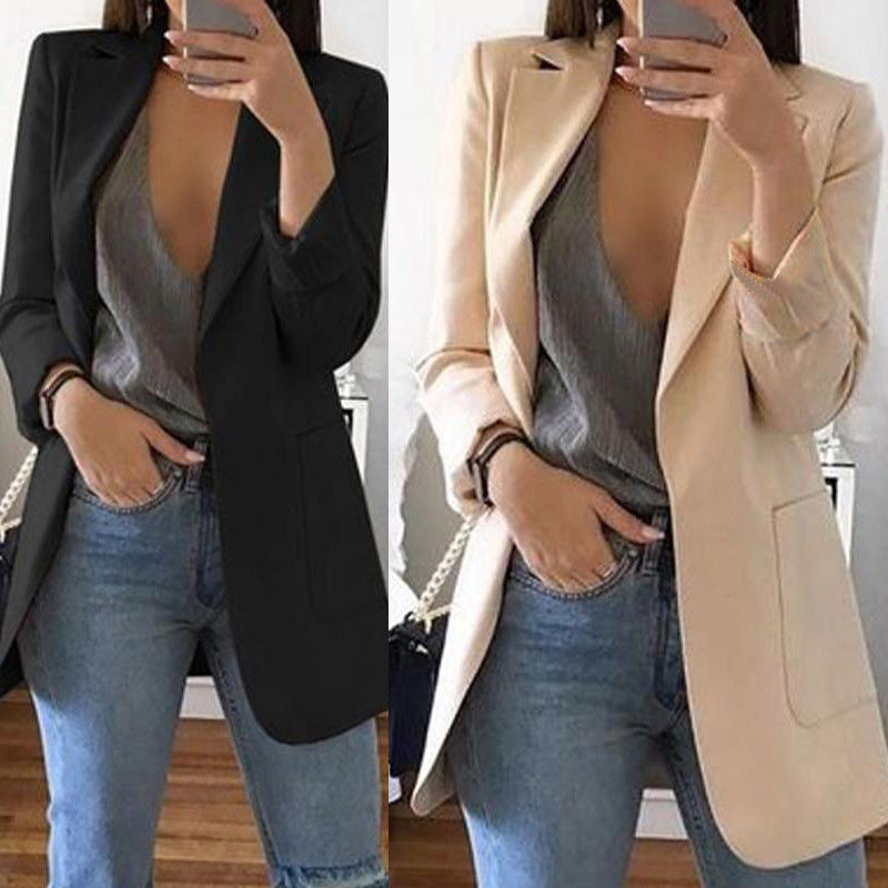Fashion Slim Blazers Women Autumn Spring Suit Jacket Female Work Office Lady Suit Black With Pocket Business Notched Blazer Coat