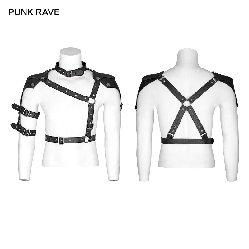 PUNK RAVE Men's Gothic Black Chest Harness-Top Armor Punk Locomotive Streetwear Leather Iron Hoop Military Uniform Men Belt