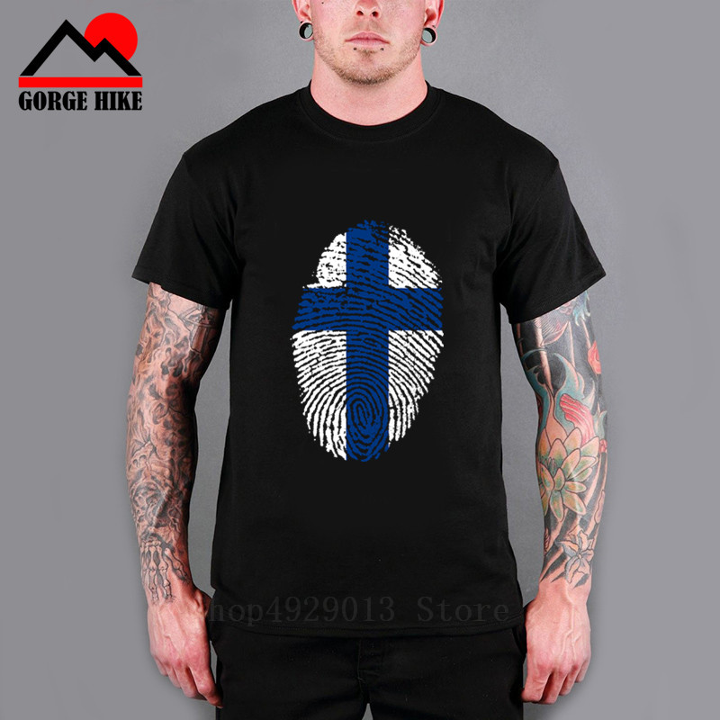 O Neck Nostalg Clothing Cotton <font><b>Finland</b></font> <font><b>Flag</b></font> Fingerprint Design T <font><b>Shirt</b></font> Top Modern Tee - MensFans Cheer Baby Sizesmens T <font><b>Shirts</b></font> image
