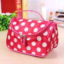 цены 1Pc Portable Cosmetic Bag Cute Polka Dot Women Organizer Durable Double Zipper Toiletry Make Up Girls Fashion Travel Storage #