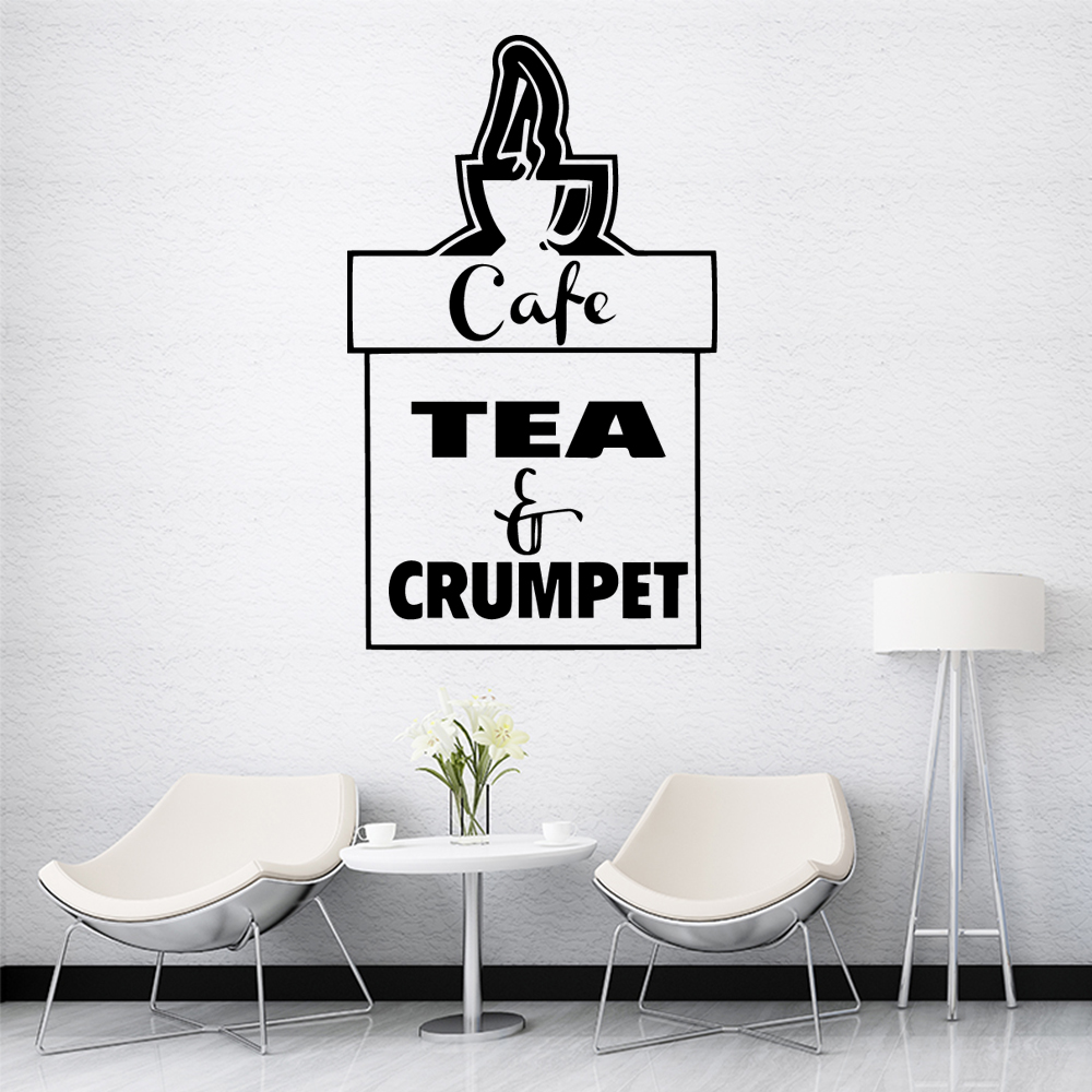 Fashionable Coffee Tea Wall Sticker Self Adhesive Vinyl Waterproof Wall Art Decal Nursery Kids Room Wall Decor Decal Mural in Wall Stickers from Home Garden