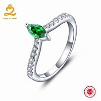 Simple Elegant Created Emerald Design Natural Green Cz 925 Sterling Silver Rings For Women Sterling Silver