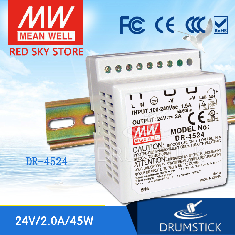 (12.12)MEAN WELL DR-4524 24V 2A meanwell DR-45 48W Single Output Industrial DIN Rail Power Supply [sumger2] mean well original dr 100 15 15v 6 5a meanwell dr 100 15v 97 5w single output industrial din rail power supply