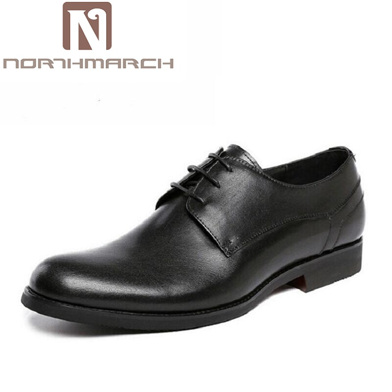 NORTHMARCH Brand Genuine Leather Men Dress Shoes Black Wedding Casual Male Shoes Round Toe Luxury Designer Business Derby Shoes new arrival luxury man casual shoes genuine leather cow comfortable loafers round toe designer brand men s business flats gd20