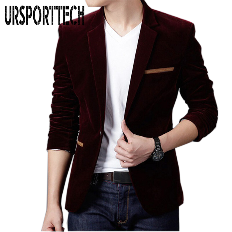 2019 Mens Blazer Brand Clothing Casual Suit Slim Jacket Single Button Corduroy Blazer Men Dress Suits Terno Masculino Plus Size