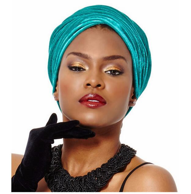 5 pieces/lot High Quality India Caps African Headwrap Soft Velvet Turban Scarf Head Wrap Women Headtie