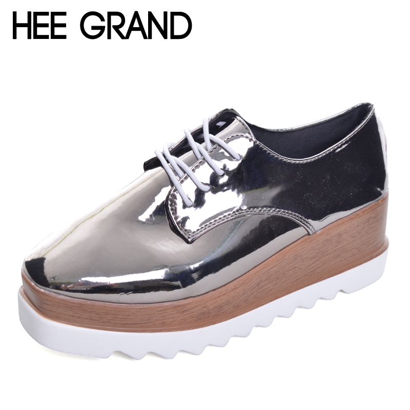 HEE GRAND 2017 Creepers Platform Casual Shoes Woman Lace-Up Oxfords Spring Flats Fashion Solid Women Shoes XWD4890 women oxfords flats shoes leather lace up platform shoes woman 2016 brand fashion female casual white creepers shoes ladies 801