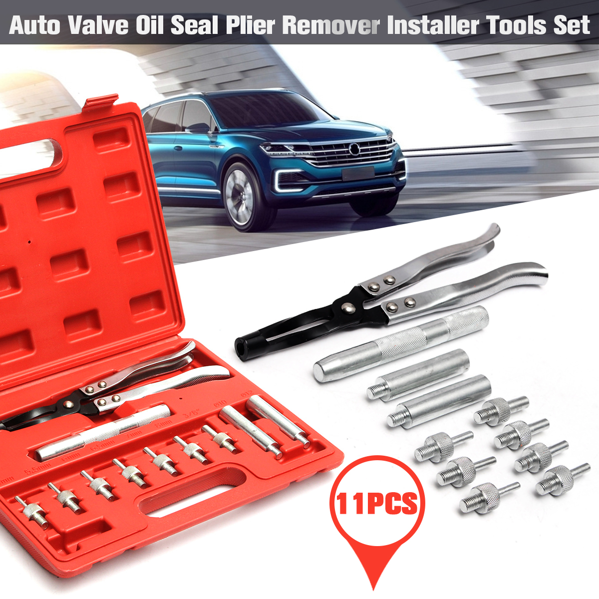 Audew 11Pcs Auto Vehicle Automotive Valve Oil Seal Plier Remover Installer Tools Set Car Garage Kit Heavy Duty Tire Repair Tools