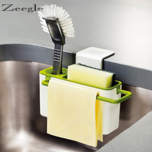 3 In 1 Home Suction Cup Base  Sink Draining Storage Organization Kitchen Brush Sponge Towel Rack Washing Holder Bathroom Shelves