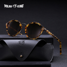 POLARKING Brand Vintage Round Polarized Men Sunglasses For Traveling Unisex Acetate Rivet Sun Glasses Driving Eyewear Oculos