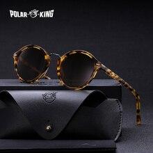 Polarking marca do vintage redondo polarizado óculos de sol para viajar unissex acetato rebite óculos de condução oculos