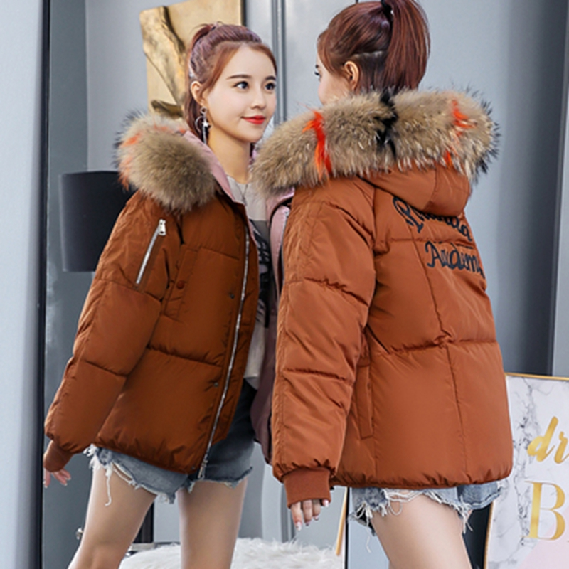 Brieuces Short Coats & Jackets Slim Women   Parka   Winter Fur Collar Hooded Coat Female Knitting Autumn Warm Outwear Overcoat   Parka