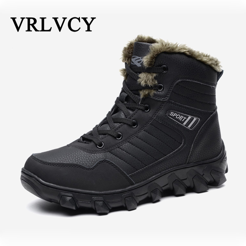 Big size New Men Boots for Men Winter Snow Boots Warm Fur&Plush Lace Up High Top Fashion Men Shoes Sneakers Boots 2017 new winter high top comfortable boots warm plush sneakers mujer warm running shoes for men cheap sale sneakers zapatillas