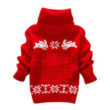 Hot Sale Winter Kids Infant Baby Cartoon Sweater Girls Clothes Child Pullover Girl Turtleneck Sweaters Children Warm Outerwear