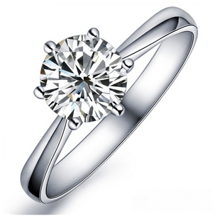 JEXXI Simple Elegant 6 Claws Cubic Zirconia Crystal 925 Sterling Silver Rings For Women Bridal Wedding Ring Jewelry Anillos