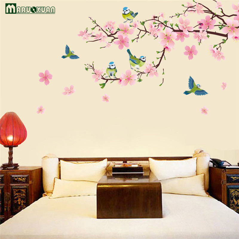 2017 Large Elegant Flower Wall Stickers Graceful Peach Blossom Birds Wall Stickers Furnishings Romantic Living Room Decoration