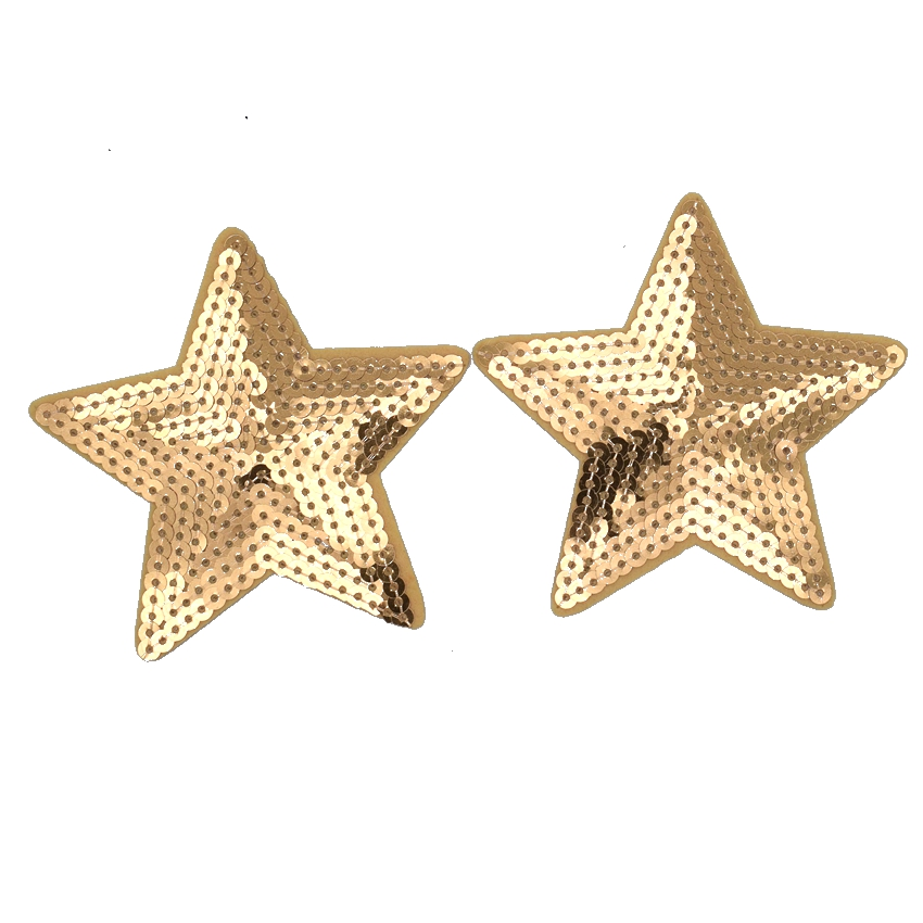 2Pcs Gold Star Heart Embroidered Patch Iron On Patches ...