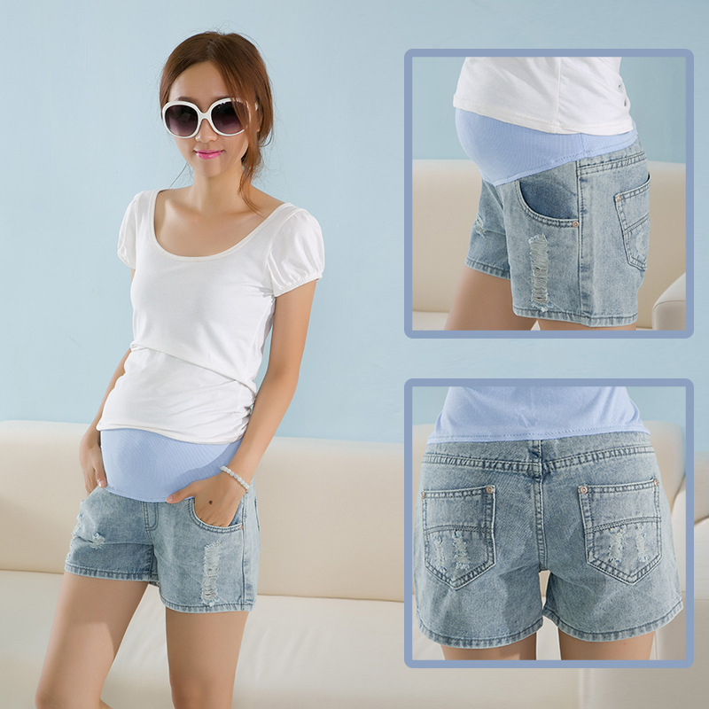 Jeans Maternity Shorts For Pregnant Women High Waist Short Elastic ...