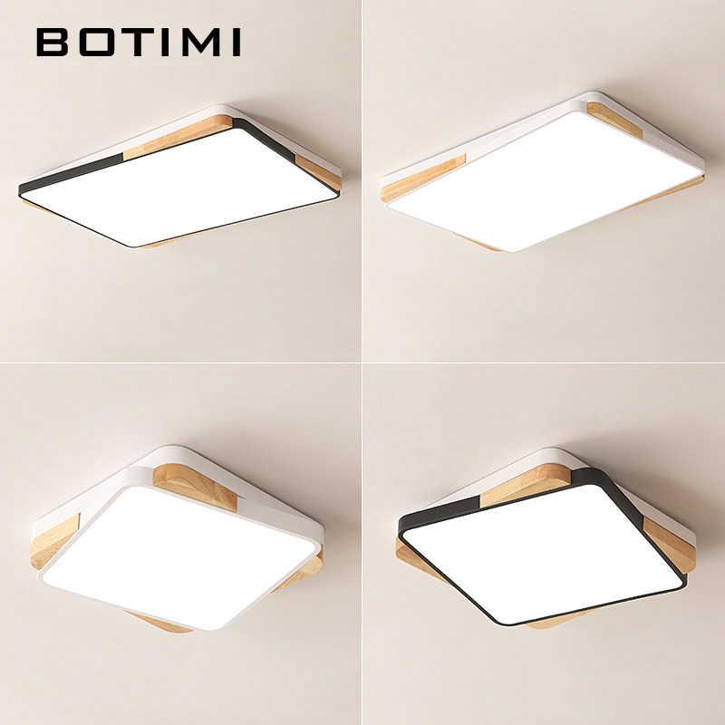 BOTIMI квадратный светодиодный Потолочные светильники для Гостиная Белый Lamparas де techo Прямоугольник Деревянный потолочный светильник поверхностного монтажа спальня свет