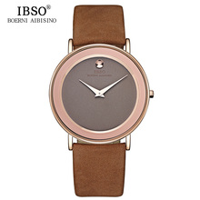 IBSO 6MM Ultra Thin Watches Men Top Brand Luxury Male Quartz Watch Waterproof Relogio Masculino 2019 Mens Leather Watches #2216